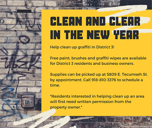 graphic for Clean and Clear program yellow box with text information over a wall with graffiti